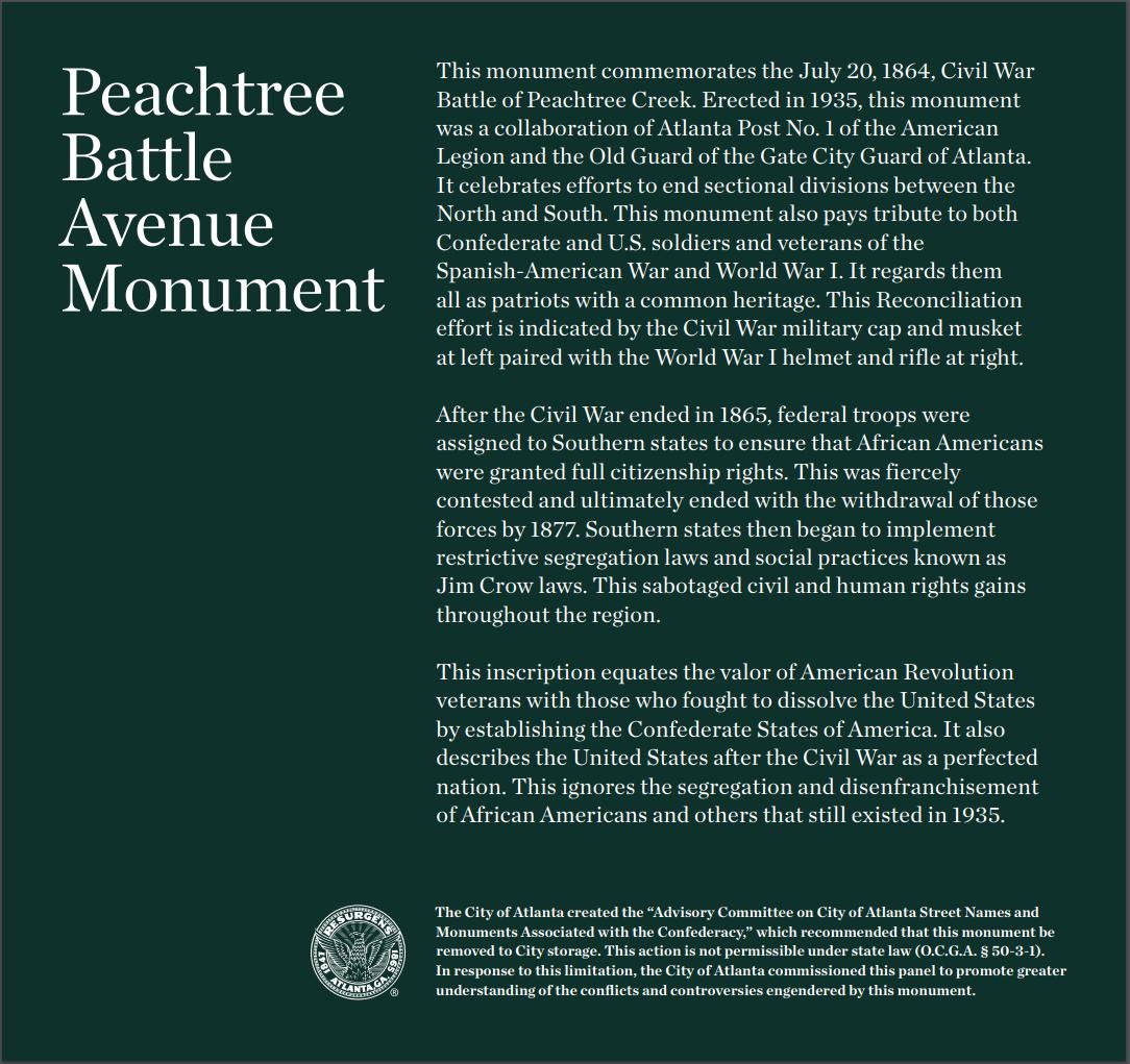 Peachtree Battle Avenue Monument context